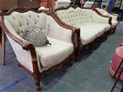 Sale 8672 - Lot 1074 - Heavily Carved 5 Piece Lounge Suite incl. 3-Seater, 2 Tub Chairs and 2 Side Chairs