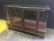Sale 9017 - Lot 1009 - Vintage Timber & Glass Shop Display Cabinet/ Counter (H70 x W143 x D62cm)