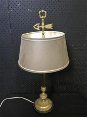 Sale 9031 - Lot 1035 - Brass Fluted Table Lamp, raised on a marble plinth, with arrow adjustment & grey fabric shade (H:71cm)