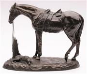 Sale 9044 - Lot 60 - Mary Pinsent bronze figural group depicting horse and dog (H24.5cm), marked 83/100