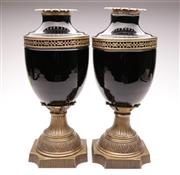 Sale 9044 - Lot 99 - Pair of Black Glass and Bronze Style Finished Metal Urns (H:48cm)