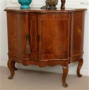 Sale 9066H - Lot 34 - A continental walnut and inlaid two door cabinet on short cabriole legs, the top with cockatoo on a branch detail. H 86cm W 100cm D...