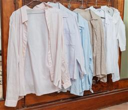 Sale 9120H - Lot 275 - A set of six ladys blouses in linen and cotton, examples by Laura Ashley and Goondiwi mostly size 12-14