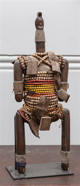 Sale 9160H - Lot 80 - An African Tribal figure profusedly adorned with beads, on metal stand, Height 57cm