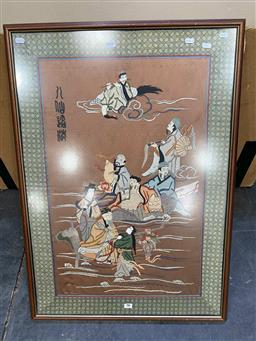 Sale 9176 - Lot 2149 - framed Chinese embroidery, mythical celestial figures, frame: 92 x 65 cm.