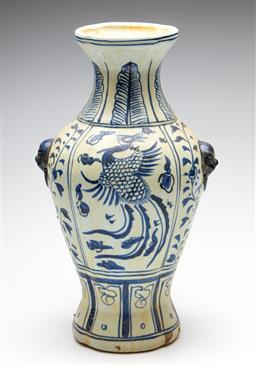 Sale 9253 - Lot 69 - A Chinese blue and white ceramic vase featuring phoenix to body (H:40cm)
