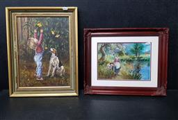 Sale 9254 - Lot 2087 - 2 Works: NONI WISEMAN & SHARON FRENCH - Boy with Dog & Girl with Lamb frame: 46 x 36 cm & 35 x 43 cm