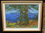 Sale 8422T - Lot 2001 - L. Sanderson - Pines over Megalong Valley 45 x 60cm
