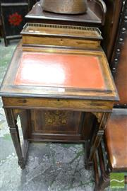 Sale 8460 - Lot 1086 - Victorian Marquetry Rosewood Davenport, with hinged stationery compartment & writing slope, above four drawers & square supports