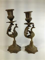 Sale 8579 - Lot 62 - A pair of brass peacock candle holders, H 21cm