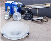 Sale 8550H - Lot 251 - A group of lighting wares including a ceiling light shade diameter 32cm, two bulbs, one wall picture light, one desk light and two s...