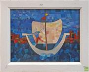 Sale 8604 - Lot 2074 - Artist Unknown - Boat at Sea, oil on canvas 47 x 57cm (frame size) signed lower right