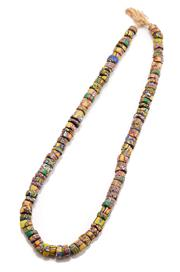 Sale 9083 - Lot 586 - A VINTAGE GLASS BEAD NECKLACE; 10 - 12mm round various width multicoloured beads, length 60cm.