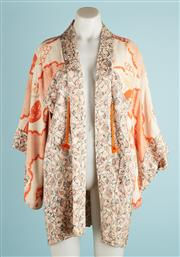 Sale 9071F - Lot 15 - AN OPEN STYLE SHORT KIMONO; in oranges and creams with mini collar, 3/4 sleeves, size S