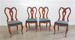 Sale 9151 - Lot 1338 - Set of four carved wood dining chairs with studded upholstered seats - 223 (h98 x w46 x d46cm)