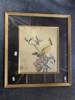 Sale 9159 - Lot 2058 - Chinese School (2 works) paintings on silk depicting birds, frame : 45 x 50 cm each, both stamped -