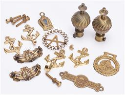Sale 9185E - Lot 93 - A small collection of brass door handles and hooks