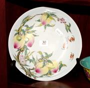 Sale 8107B - Lot 30 - Chinese Famille Rose Plate, peaches and bats design, marks to base, Diameter 21cm