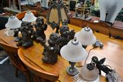 Sale 8156 - Lot 1097 - Set of 4 Cherub Figures, 4 Glass Shade Table Lamps, Pair of Cherub Hanging Lights & Brass Style Table Lamp (11)