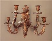 Sale 8259A - Lot 35 - A pair of Rococo style bronze five branch wall mount candelabra, H 40cm