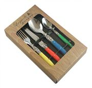 Sale 8292A - Lot 9 - Laguiole by Andre Aubrac Cutlery Set of 16 w Multi Coloured Handles RRP $190