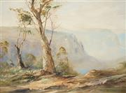 Sale 8510 - Lot 513 - Terry Gleeson (1934 - 1976) - Grose Valley (from near Gove Leap, Blue Mountains NSW) 90.5 x 120.5cm