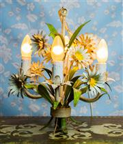 Sale 8577 - Lot 1 - A vintage 1950s daisy tole four branch chandelier, in original condition, featuring original tole ceiling canopy in working order t...