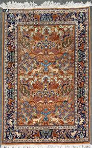 Sale 8868 - Lot 1076 - Small Persian Garden of Paradise Wool Carpet, with animals and flora on a tobacco ground & dark blue border (190 x 127cm)