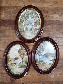 Sale 9127 - Lot 2079 - Three John Upton water colours of Country NSW, frame 20 x 26 cm each, -