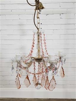 Sale 9174 - Lot 1180 - Maria Theresa pink five arms chandelier (h56cm)