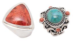 Sale 9209J - Lot 318 - TWO SILVER STONE SET RINGS; one set with a faux turquoise and 4 coral beads on 26mm wide scrolling mount with butterfly shoulders, a...