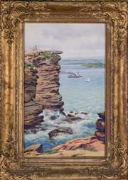 Sale 7379B - Lot 85 - J.A.Turner- Sydney heads, oil on canvas, 44x 27cm, signed and dated 1897 lower left.