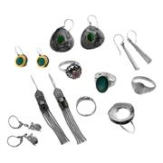 Sale 8087B - Lot 393 - A GROUP OF STERLING SILVER EARRINGS AND RINGS; 5 pairs of earrings set with malachite, turquoise, garnet and mother of pearl, 5 ring...