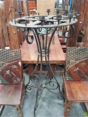 Sale 8593 - Lot 1003 - Large Wheel Top Forged Iron Candelabrum (156 x 81cm)
