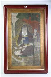 Sale 8897 - Lot 32 - A Korean Deity & Tiger Figure with An Attendant in An Abstract Space, Oil on Canvas (83cm x 52cm)