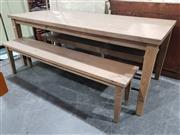 Sale 8942 - Lot 1025 - Sundried Ash Table Together with Two Matching Benches (Table - H: 78, L: 198, W: 90cm)