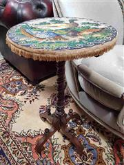 Sale 8939 - Lot 1015 - Victorain Mahogany Occasional Table, with circular beaded panel top of malllard ducks (some losses), on spiral column & four outswep...