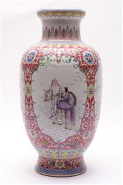 Sale 9027 - Lot 65 - A Large Famille Rose Vase with panels featuring Elders (H42cm)