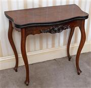 Sale 9058H - Lot 83 - A  rosewood foldover card table with green baize insert raised on slender cabriole legs. Height 76cm x Width 85cm x Depth 40cm