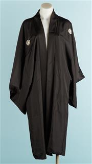 Sale 9071F - Lot 93 - A BLACK OVERSIZED KIMONO depicting a woman & a traditional instrument. one size