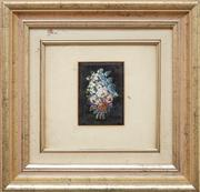 Sale 9081H - Lot 21 - A micro mosaic picture of a floral bouquet in a gilt frame, frame size 28cm x 28cm