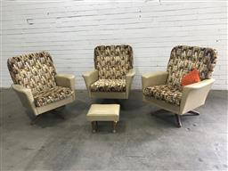 Sale 9102 - Lot 1027 - Set of 3 vinyl swivel armchairs with single footstool (h:60 x w:78 x d:50cm)
