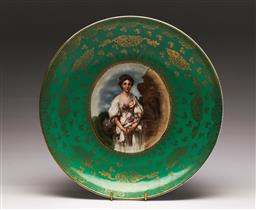 Sale 9138 - Lot 166 - Victoria Carlsbad Austria, Handpainted Signed Cabinet Charger - signed Greuze (Dia:34cm)