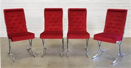 Sale 9188 - Lot 1118 - Set of four chrome and velvet dining chairs by Namco (h:93 x w:45 x d:60cm)