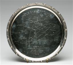Sale 9192 - Lot 75 - English Hallmarked Sterling Silver Salver Commemorating the Indus Basin Project in Afghanistan (Dia:25cm) (Wt 519g)