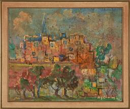 Sale 9216A - Lot 5066 - NOEL G. CHARLEY European Town Scene, 1980 oil on board 44.5 x 54 cm (frame: 52 x 62 x 3 cm) signed and dated lower right