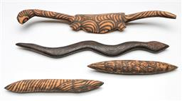 Sale 9209 - Lot 42 - A collection of cultural wood carvings incl. snake (L:47cm), lizard (L:51cm) and clapping sticks