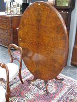 Sale 7919A - Lot 1736 - Fine Victorian Burr Walnut Loo Table with a Well Carved Pedestal & 4 Upswept Legs