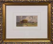 Sale 7379B - Lot 81 - Elma Roach- Haystacks, watercolour, 12x 24cm, signed and dated '23 lower right