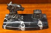Sale 8261A - Lot 11 - A French Art Deco bronzed metal dog head inkwell, with black marble base, L23 cm